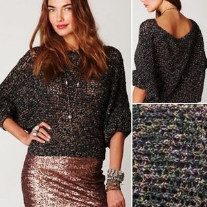 Free People Speckle Slouchy Open Knit Pullover (S)